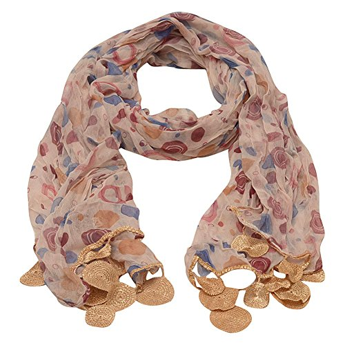Girls Gold Blue Dotted Round Crochet Leafy Accents Scarf by Sophia's (Image #1)