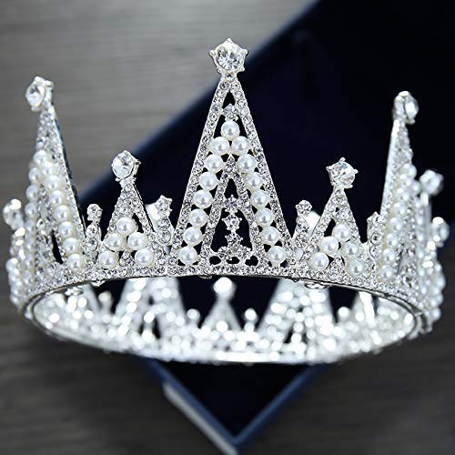 Wedding Crown, Beautiful headdress/Bridal Baroque Crystal Queen Crown Wedding Headwear Photo Studio Wedding Dress Pearl Jewelry by Junson (Image #3)