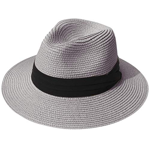 JOYEBUY Womens UPF50 Foldable Summer Straw Hat Wide Brim Fedora Sun Beach hat (Grey)
