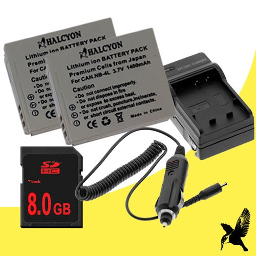 Two Halcyon 1400 mAH Lithium Ion Replacement Battery and Charger Kit + 8GB SDHC Class 10 Memory Card for Canon PowerShot SD780 IS 12.1 MP Digital Camera and Canon NB-4L by Halcyon