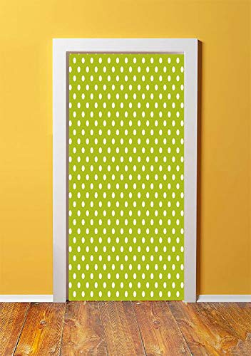 Retro 3D Door Sticker Wall Decals Mural Wallpaper,Vintage Old Fashioned 60s 70s Inspired Polka Dots Pop Art Style Art Print,DIY Art Home Decor Poster Decoration 30.3x78.185,Lime Green and White ()