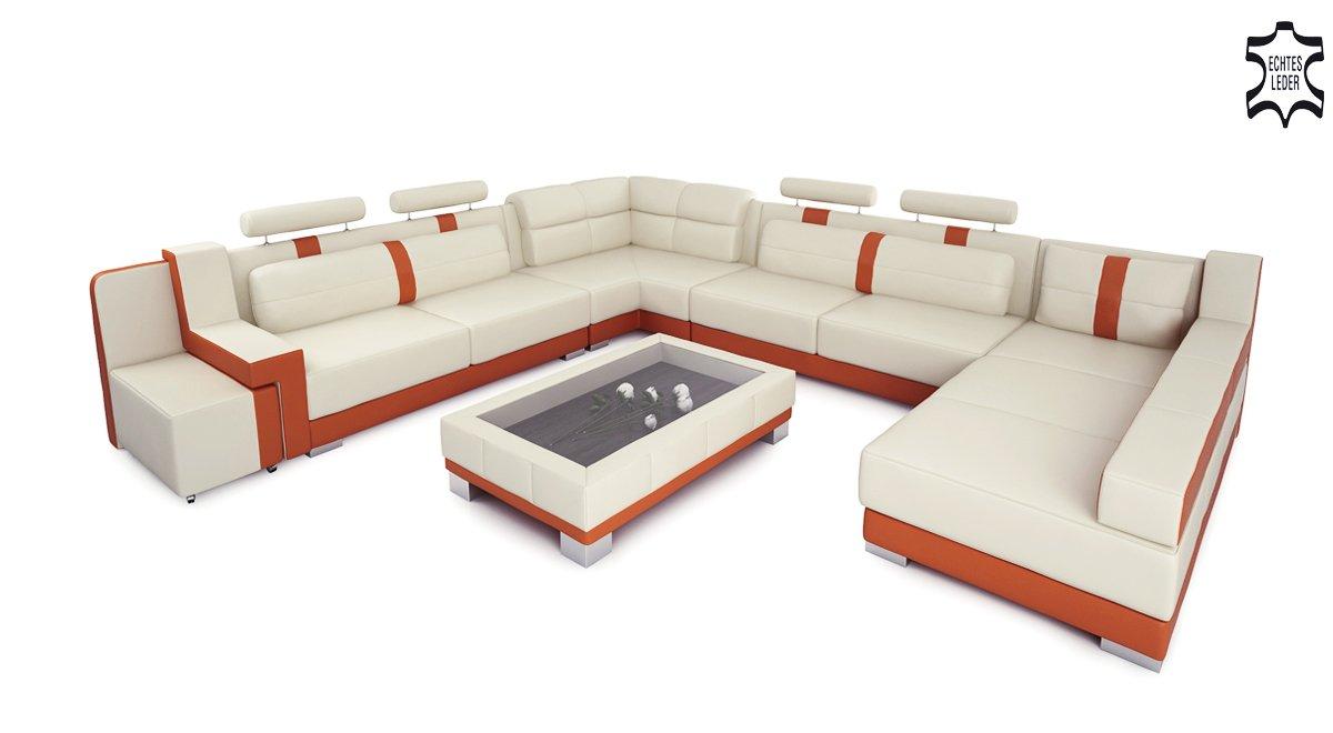 Couch u form leder  Ledersofa Wohnlandschaft Leder XXL U-Form creme / orange Big Sofa ...