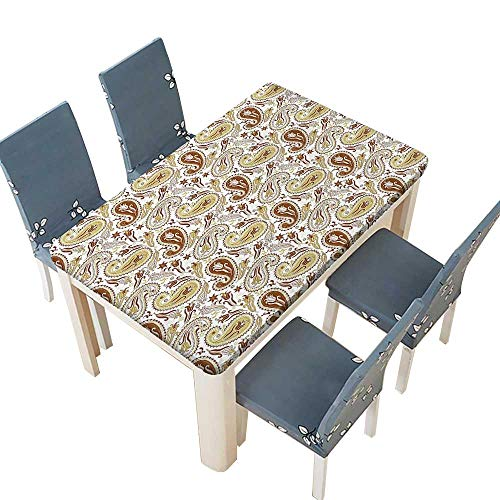 (PINAFORE Spring & Summer Outdoor Tablecloth, Floral Patterns with Paisley and Tulips Persian Style Hippie Art White Chocolate Umber Multicolor W25.5 x L65 INCH (Elastic Edge))