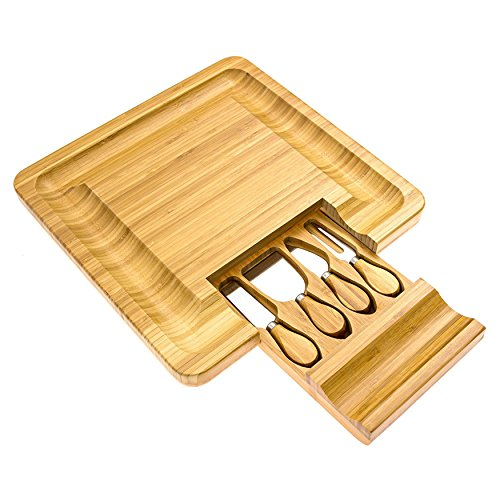 Cortesi Home CH-AX900305 Handi Natural Bamboo Cheese Serving Board Table Set with 4 Stainless Steel Knives 13.25'' Brown by Cortesi Home (Image #3)