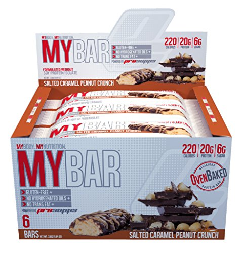 Pro Supps MYBAR Delicious Oven Baked Protein Bar (Salted Caramel Peanut Crunch), 20g Protein, Only 6g Sugar, Gluten-free, No Trans Fat, Healthy on-the-go Snack. 6 Count, Net WT 1.94 ounces