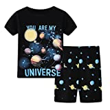 Toddler Boys Universe Pajamas Set Summer Shorts Sleepwear Planet Cotton T Shirt Clothing-Sets