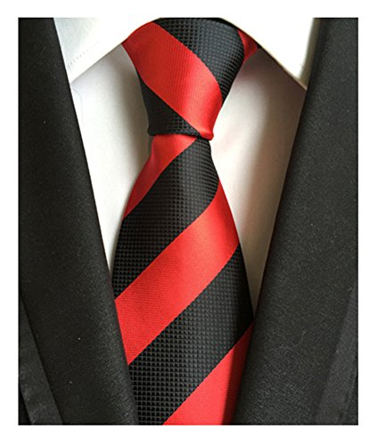 Black Shirt Red Tie (Secdtie Men's Red Black Striped Jacquard Woven Silk Tie Formal Necktie LUD34)