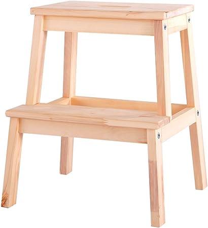 Yuhao Taburete de Madera Maciza 2 peldaños para el hogar, Taburete de Escalera para niños, Taburete de Escalera para Adultos, Color Madera: Amazon.es: Hogar