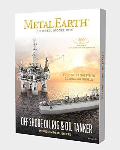 Fascinations Metal Earth Off Shore Oil Rig & Oil Tanker Gift Box Set 3D Metal Model (Oil Rig)