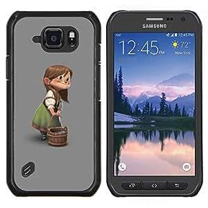 Eason Shop / Premium SLIM PC / Aliminium Casa Carcasa Funda Case Bandera Cover - El carácter de los niños muchacha de la historieta - For Samsung Galaxy S6 Active G890A