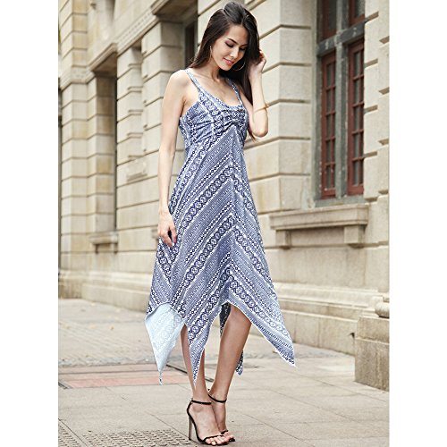 Strap D Dress Spaghetti Top Camisoles Casual Flowy Handkerchief Summer Sun Hem Blue wxqwgT7