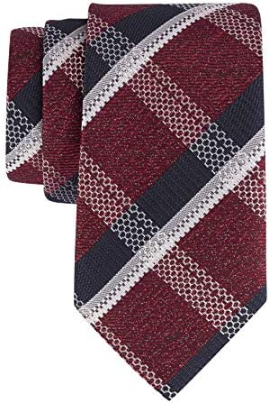 The Tie Hub Premium Maroon with Navy and White Grey Checkered Polyester Slim Necktie For Men