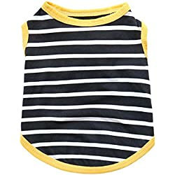 Pet Vest,Haoricu Cotton Summer Elastic Stripe Print Shirt Vest Chiens Pet Clothes Dog Cat Clothing Coat Pet Tee Shirt For Small Dog Custome (M, Yellow)
