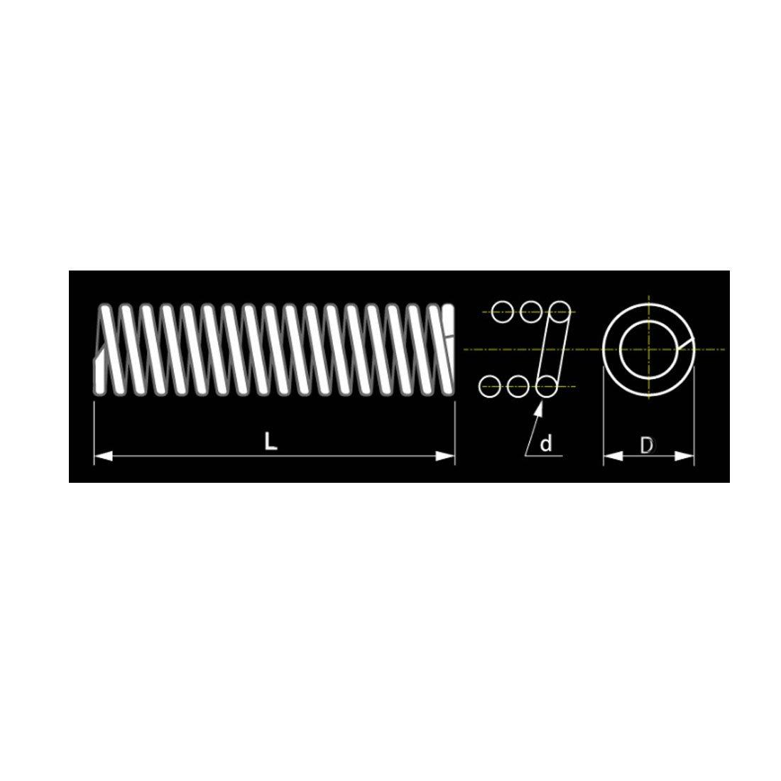 40mm Long Compression Ressort Noir 20pc sourcing map 1.2mm Fil Dia 16mm Dia Ext