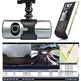 daffodilblob Car Recorder, 2.7 Inch Dual Lens Camera Vehicle 720P 140° Wide Angle Car DVR Dash G-Sensor GPS Video Recorder LCD Screen for MAC OS Above 10.3.6 Grey