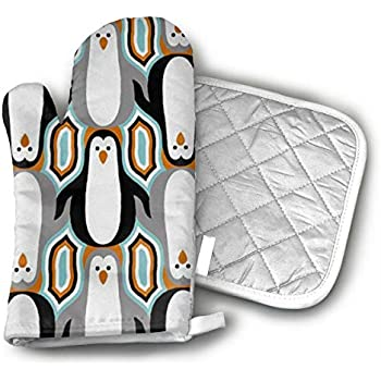 Penguin Oven Mitts and Pot Holders Set with Polyester Cotton Non-Slip Grip, Heat Resistant, Oven Gloves for BBQ Cooking Baking, Grilling