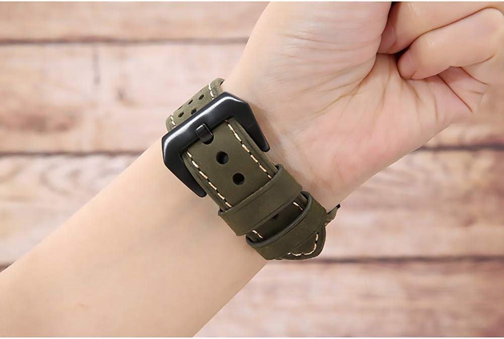 WAY-KE Cinturino Sportivo per Iwatch 38/40/42/44mm Cinturino di Ricambio in Pelle Morbido E Traspirante Compatibile con Gli Orologi Apple Serie 1 2 3 4 5 Brown