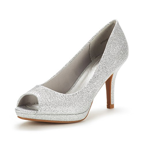 (DREAM PAIRS Women's City_OT Silver GLIT Fashion Stilettos Peep Toe Pumps Heels Shoes Size 5.5 B(M) US)