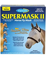 Farnam Supermask II Shimmer Weave Horse Fly Mask, Horse Size, Silver Mesh with Black Trim