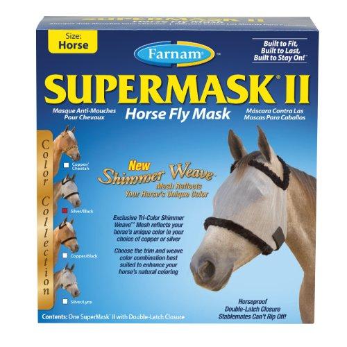 Equine Fly Masks - Farnam Supermask II Shimmer Weave Horse Fly Mask, Horse size, Silver Mesh with Black Trim