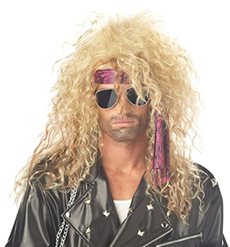 B-G Professional Stylish Mens Retro 70s 80s Disco Rocker Long Curly Wig Full Hair Wig Fancy Party Accessory Cosplay Wig Mullet Wig (Golden) (2)