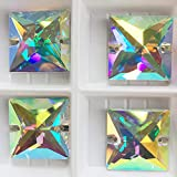 Square Sew on Rhinestones with 2 Holes,Sewing Stone AB Colors Craft Supplies, Flat Back Glass Sewing Crystal Beads