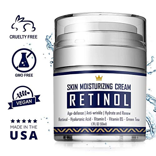 5116QmfnJZL - Retinol Cream - Anti Aging Face Cream with Hyaluronic Acid, Vitamin E & B5, Jojoba Oil, Green Tea and Gotu Kola Extract -  Fights Appearance of Wrinkles, Fine Lines - Night and Day Moisturizer