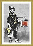Alonline Art - Boy with Dance Mat Banksy Gold Framed Poster (Print on 100% Cotton Canvas on Foam Board) - Ready to Hang | 15''x21'' | Frame Framed Print for Home Decor for Bedroom Framed Paintings