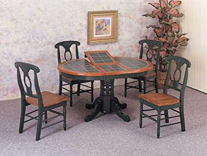 Amazon.com: 5 Piece Round Tile Top Dining Set in Dark Oak ...