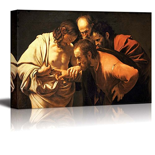 - wall26 - The Incredulity of Saint Thomas by Caravaggio - Canvas Print Wall Art Famous Painting Reproduction - 24