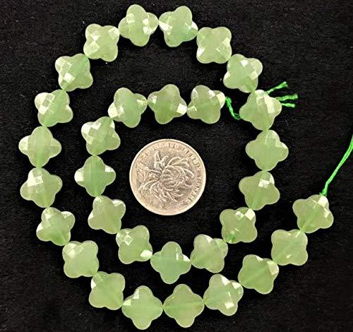 Calvas 13m Four-Leaf Clover Faceted Shape Natural Stone Beads Turquoises,Jaspers,Aventurines,Jades,Quartzs,Mookites Strand 15