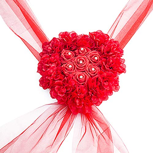 (Fake Rose Wedding Car Flower Party Decoration Heart Shape Wreath Artificial Silk(Red))