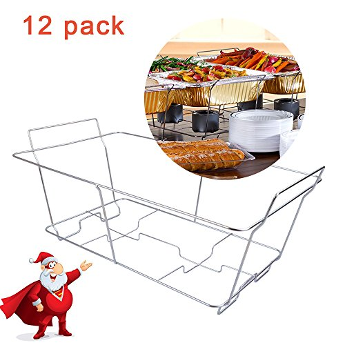 KALREDE Chafer Stand Chafing Stand Rack 12 Packs Chrome Wire - Stable and Reusable Buffet Chafer Food Warmer Wire Frame, Stand, Rack- Disposable Party accessories