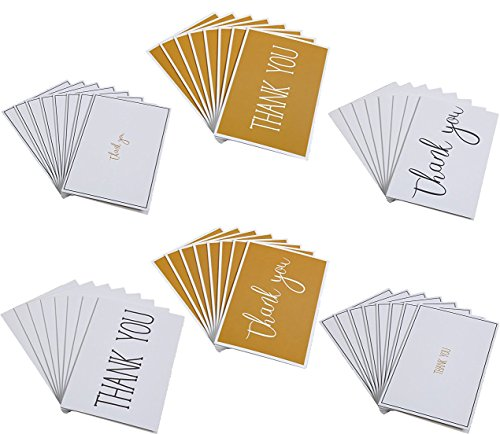 48 Thank You Greeting Cards - 6 Gold and Black Designs, Envelopes Included - 4 x 6 Inches