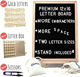 Letter Board, Black Felt – Large Changeable Wooden Message Sign – Rustic 12 x 16 Bulletin, Marquee – 667 Plastic Letters, 2 Letter Holder Bags, 36-Compartment Organizer Box