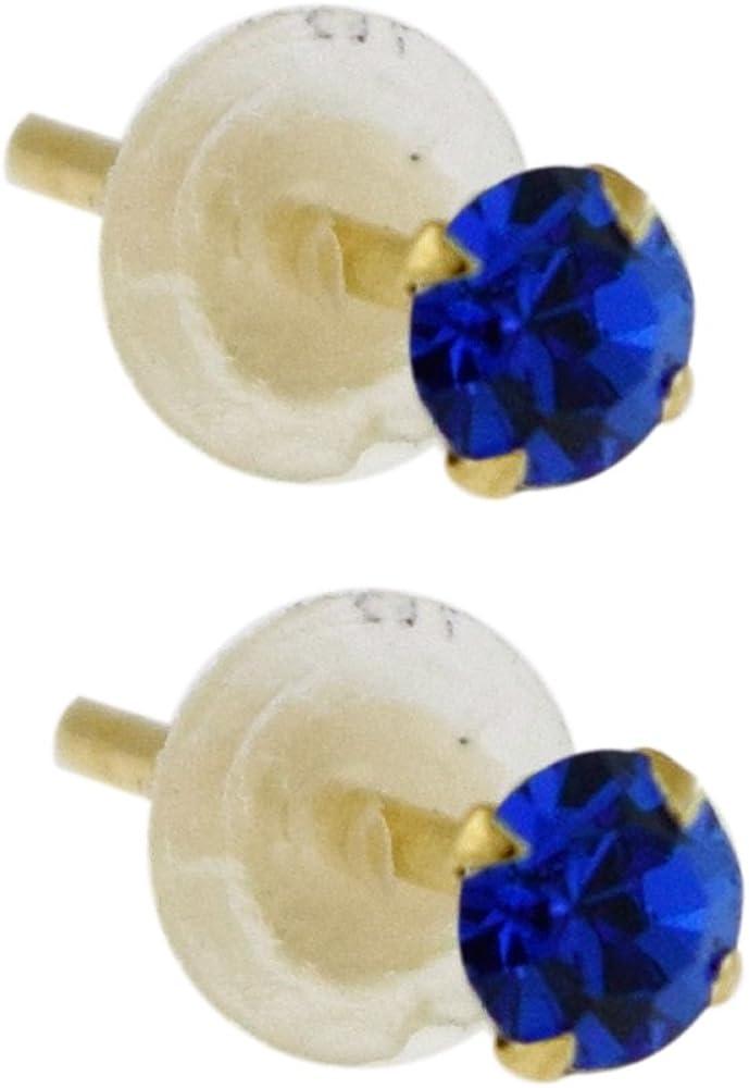 Monster Piercing S?Lido Oro Amarillo de 9 K con Piedra Caucho 3 MM Cristal Mariposa Pendiente del Perno Prisionero