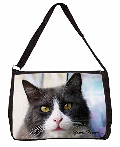 Black and White Cat Yours Forever Large 16 Black School Laptop Shoulder Bag