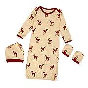Kehen 3pcs Newborn Sleep Bag - Cotton Wearable Blanket + No Scratch Mittens + Hat (0/6M, Orange)