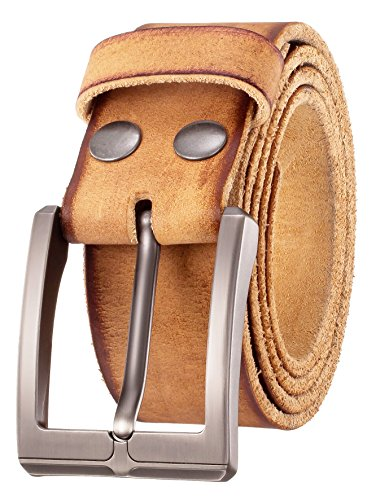 Tan Large Leather (KEEPBLANCE Men's Genuine Leather Casual Dress Belt with Single Prong Buckle (1.5