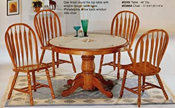 Amazon Com 5pc Country Style Oak Finish Round Dining Table W Tile Top Chairs Set Furniture Decor