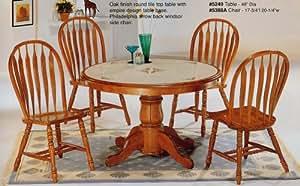 Amazon.com: 5pc Country Style Oak Finish Round Dining ...