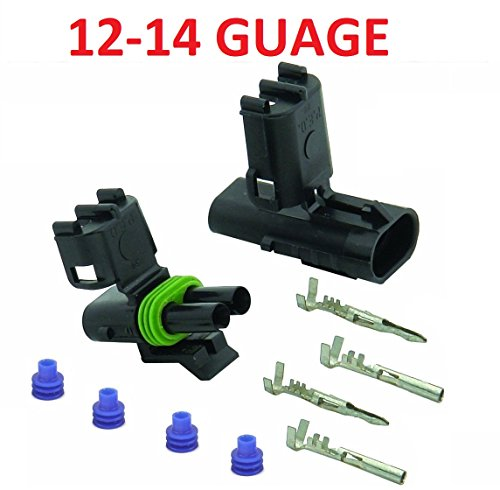 Muzzys 12-14 AWG Guage 2 Pin Position Terminal Weather Pack WeatherPack Connector Male Female Set Weather (Weather Pack Connector)