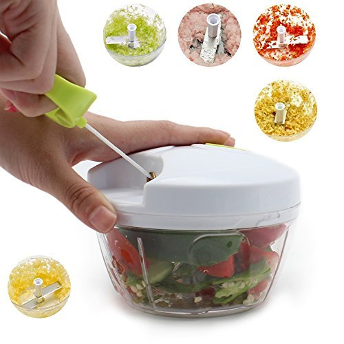 Arc Shaped Blade Manual Food Chopper Compact & Hand Held Vegetable Dicer, Mincer, Blender to Chop Fruits, Vegetables, Nuts, Herbs, Onions, Garlic for Salsa, Salad, Pesto, Coleslaw, Puree 16 Oz
