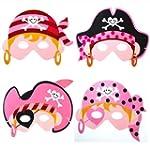girls pink pirate masks x 4 - party b...