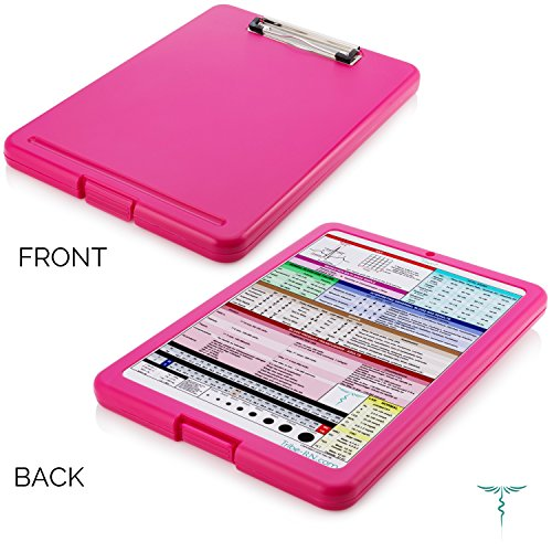 Tribe RN Nursing Clipboard with Storage With Quick Access Medical References - Nurse / Student Edition (Pink)