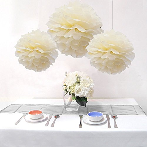 Sorive® 15PCS Mixed Sizes Beige Cream Ivory Tissue Paper Flower Pom Poms Wedding Birthday Party Nursery Decoration - Two Different Sizes: 9 * 14