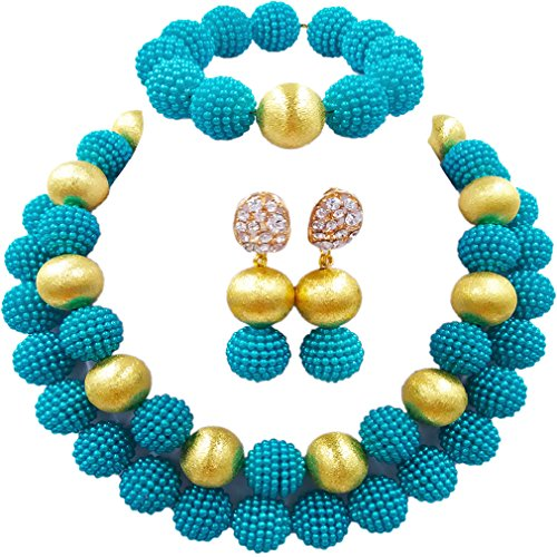 aczuv Nigerian Wedding African Beads Red Jewelry Sets for Women Simulated Pearl Necklace and Earrings (Teal - Teal Set Pearl
