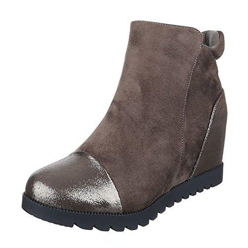 Ital-Design - Plataforma Mujer marrón y gris