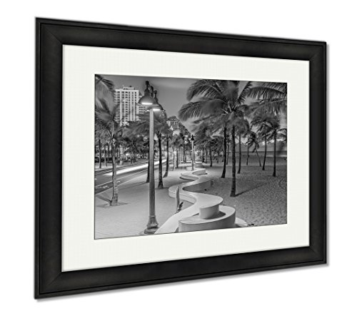 Ashley Framed Prints Ft Lauderdale Florida USA On The Beach Strip, Modern Room Accent Piece, Black/White, 34x40 (frame size), Black Frame, - Lauderdale Ft Las Fl Olas