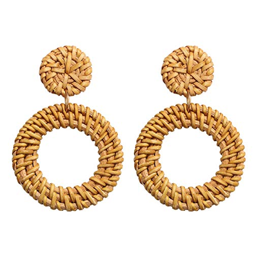 Urwomin Rattan Earrings Handmade Wicker Disc Drop Earring Boho Double Straw Dangle Statement Earring for Women (A-Rattan Hoop)
